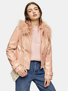topshop-vinyl-faux-fur-collar-jacket-peach