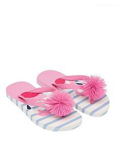 joules-girls-flamingo-pom-pom-flip-flopsnbsp--white