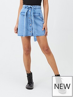 missguided-missguided-denim-paperbag-waist-skirt-blue