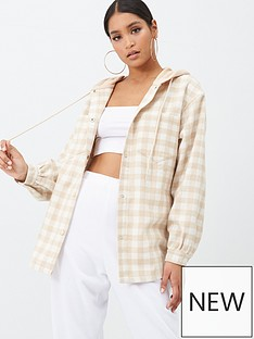 missguided-brushed-check-hooded-shacket-beige