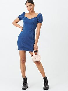 missguided-missguided-sweetheart-neck-denim-puff-sleeve-dress-blue