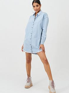 missguided-missguided-oversized-stone-wash-denim-shirt-dress-blue