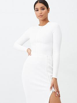 missguided-missguided-ribbed-zip-through-top-white
