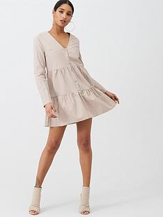 missguided-missguided-nylon-button-through-smock-dress-nude