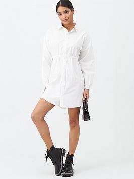 missguided-missguided-poplin-gathered-waist-shirt-dress-white