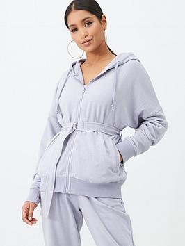missguided-missguided-belt-detail-hoodie-lilac