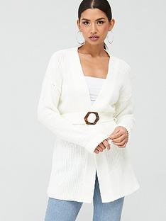 missguided-missguided-tortoiseshell-buckle-belted-rib-cardigan-cream