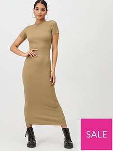 missguided-missguided-short-sleeve-crew-neck-maxi-dress-brown