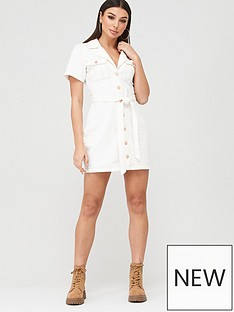 missguided-missguided-contrast-stitch-self-belt-denim-dress-white