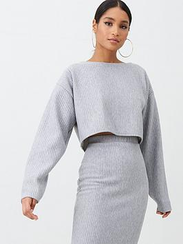 missguided-missguided-ribbed-oversized-crop-jumper-grey