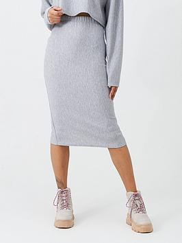 missguided-missguided-ribbed-midi-skirt-grey