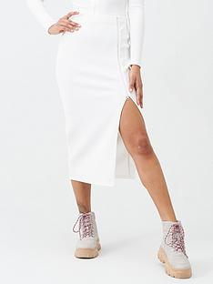 missguided-missguided-ribbed-zip-midi-skirt-white