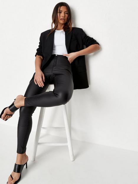 missguided-missguided-vice-high-waisted-coated-skinny-jeans-black