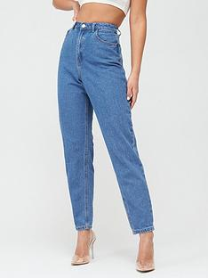 missguided-missguided-riot-high-waisted-plain-mom-jeans-blue