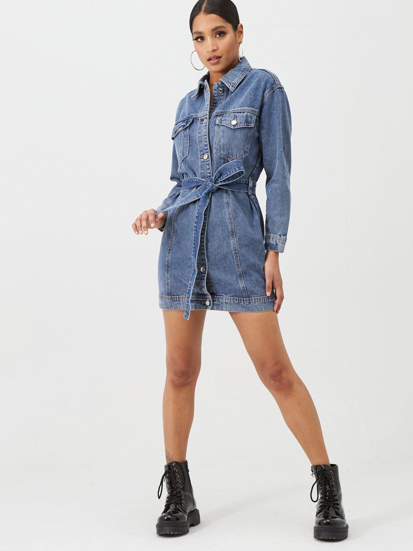 Tanming Womens Button Front Fit and Flare Denim Jean Long Midi Dress with Pockets