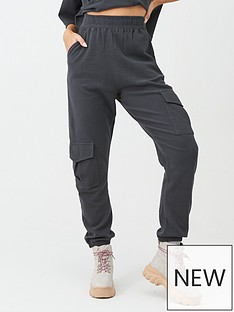 missguided-missguided-waffle-utility-pocket-joggers-grey