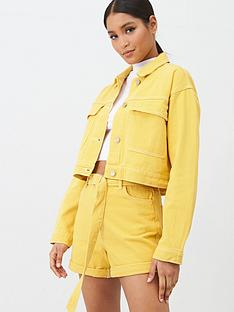 missguided-missguided-double-utility-pocket-detail-denim-jacket-co-ord-mustard