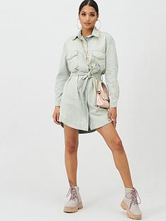 missguided-missguided-belted-oversized-denim-dress-sage