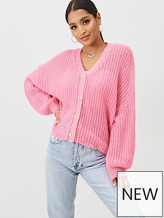 missguided-missguided-drop-shoulder-slouchy-cropped-cardigan-pink