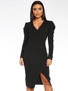 quiz-scuba-crepe-wrap-front-skirt-puff-sleeve-dress-black