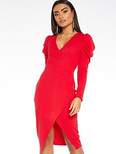 quiz-scuba-crepe-wrap-front-skirt-puff-sleeve-dress-red