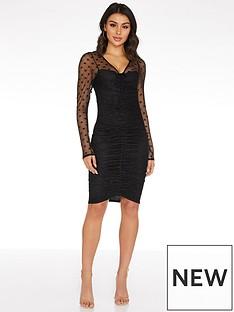 quiz-mesh-polka-dot-ruched-mini-bodycon-dress-black