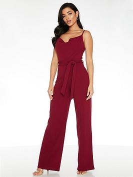 quiz-scuba-crepe-cowl-neck-tie-belt-palazzo-jumpsuit-berry