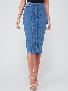 michelle-keegan-button-front-denim-pencil-skirt-mid-blue