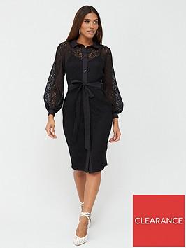 v-by-very-lace-shirt-midi-dress-black