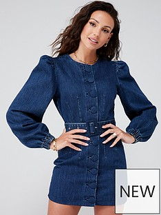 michelle-keegan-button-front-denim-mini-dress-mid-blue