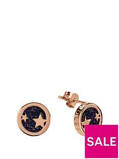 radley-radley-rose-gold-tone-sterling-silver-star-and-black-crystal-enamel-disc-stud-ladies-earrings