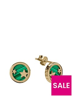 radley-radley-gold-tone-sterling-silver-star-and-malachite-semi-precious-stone-disc-stud-ladies-earrings
