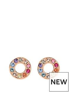 radley-radley-rose-gold-tone-sterling-silver-rainbow-crystal-set-circle-ladies-stud-earrings