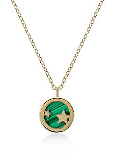 radley-radley-gold-tone-sterling-silver-star-and-green-enamel-disc-pendant-ladies-necklace