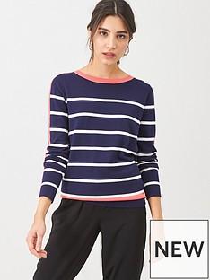 wallis-flash-brenton-stripe-crew-neck-jumper-coral