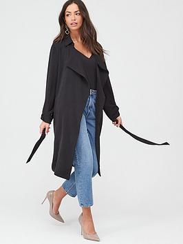 wallis-washed-twill-turnback-duster-coat--black