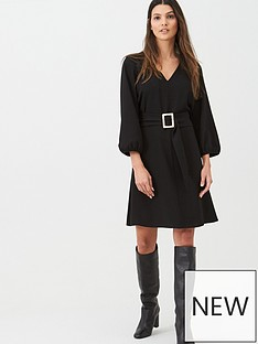 wallis-crepe-buckle-belted-fit-amp-flare-dress-black
