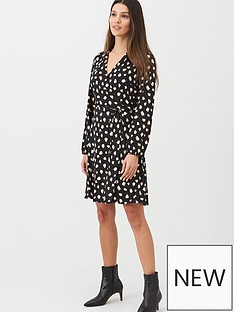wallis-stroke-spot-wrap-dress-black