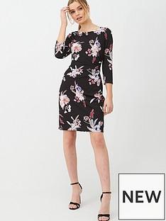 wallis-magnolia-floral-ruched-side-dress-black