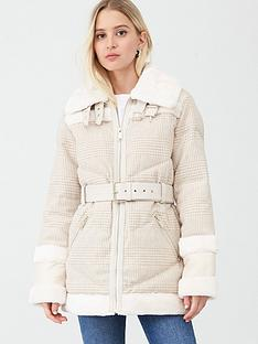 river-island-river-island-woven-check-print-aviator-jacket-cream