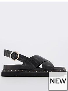 office-supernova-crossover-studded-flat-sandal-black