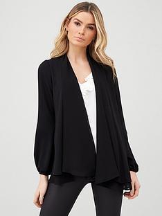 wallis-blouson-sleeve-chiffon-jacket-black