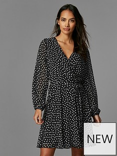 wallis-petite-spot-wrap-fit-and-flare-dress-black