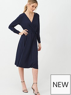 wallis-wrap-three-quarter-sleeve-fit-and-flare-dress-ink