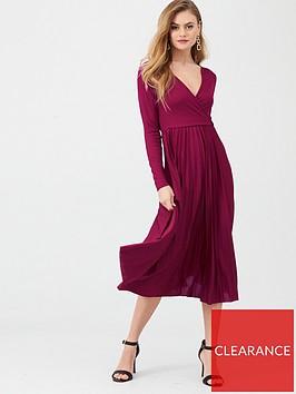 river-island-river-island-long-sleeve-pleated-midi-dress-burgundy