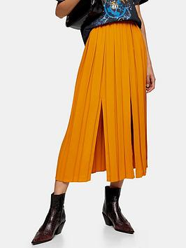 topshop-topshop-pull-on-pleat-split-midi-skirt-mustard