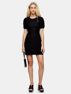 topshop-crinkle-puff-sleeve-mini-dress-black
