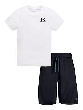 under-armour-childrensnbspcotton-t-shirt-and-prototype-wordmark-short-set-white-black