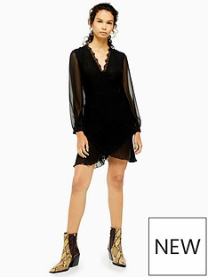 topshop-topshop-pleated-ruffle-mini-dress-black