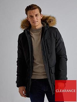 burton-menswear-london-oak-hooded-parka-black